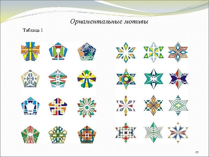 Орнаментальные мотивы Таблица 1 27