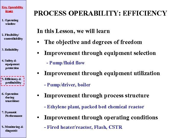 Key Operability issues PROCESS OPERABILITY: EFFICIENCY 1. Operating window 2. Flexibility/ controllability 3. Reliability