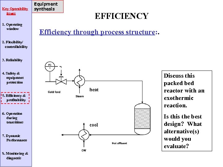 Key Operability issues 1. Operating window Equipment synthesis EFFICIENCY Efficiency through process structure: .