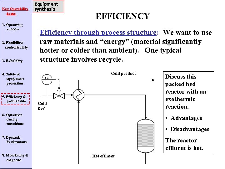 Key Operability issues 1. Operating window 2. Flexibility/ controllability 3. Reliability Equipment synthesis Efficiency