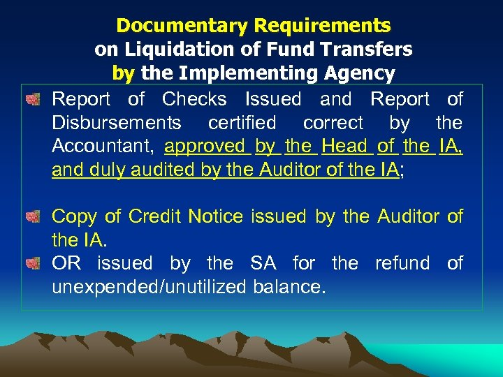 Documentary Requirements on Liquidation of Fund Transfers by the Implementing Agency Report of Checks