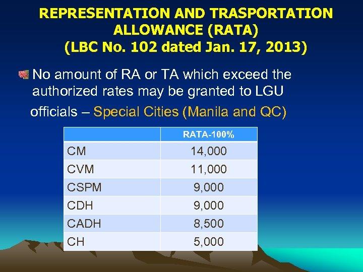 REPRESENTATION AND TRASPORTATION ALLOWANCE (RATA) (LBC No. 102 dated Jan. 17, 2013) No amount