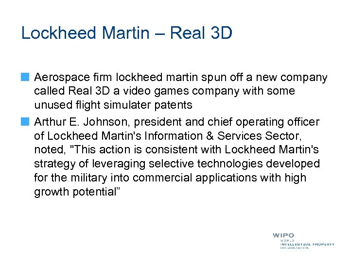 Lockheed Martin – Real 3 D Aerospace firm lockheed martin spun off a new
