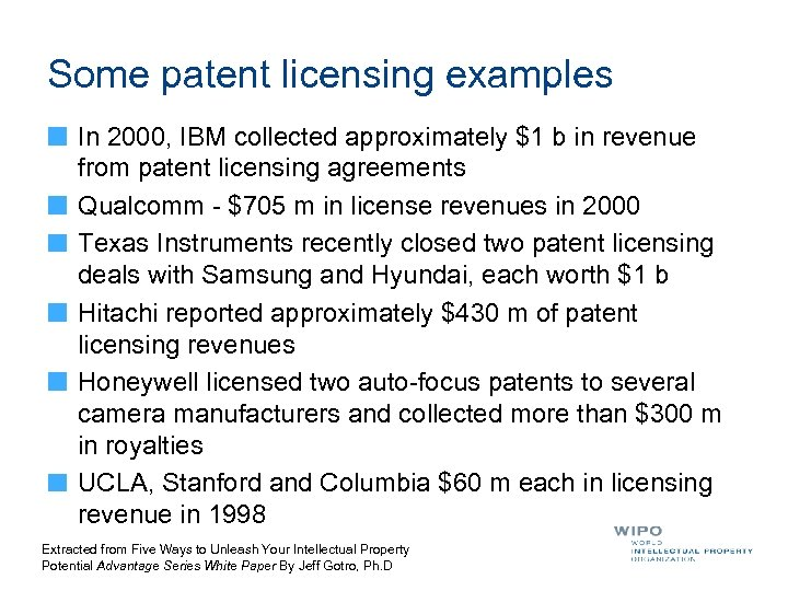 Some patent licensing examples In 2000, IBM collected approximately $1 b in revenue from