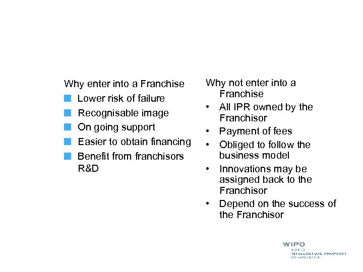 Why enter into a Franchise Lower risk of failure Recognisable image On going support