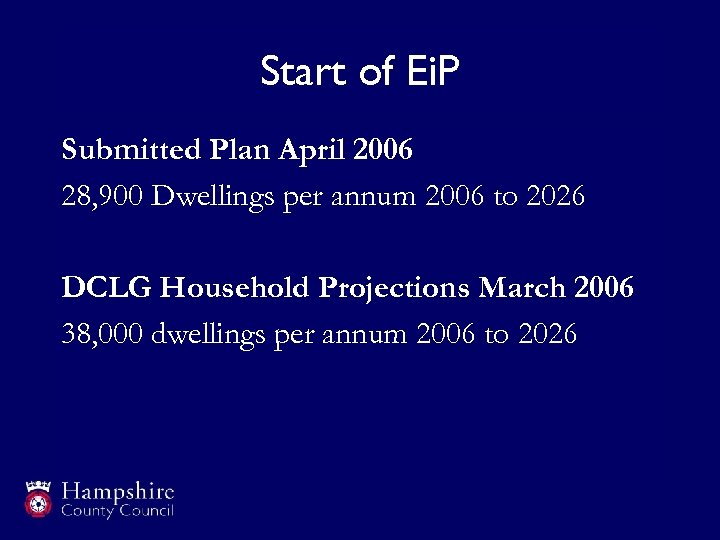 Start of Ei. P Submitted Plan April 2006 28, 900 Dwellings per annum 2006