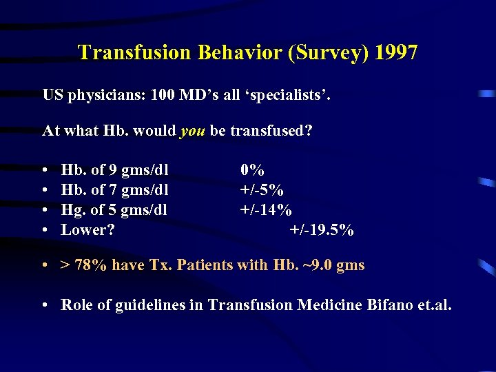 Transfusion Behavior (Survey) 1997 US physicians: 100 MD's all 'specialists'. At what Hb. would
