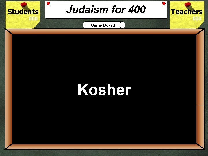 Students Judaism for 400 Teachers Game Board 400 Jewish practice requires food to be