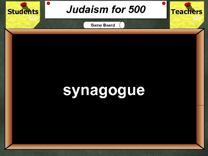 Students Judaism for 500 Teachers Game Board 500 The Jewish house of worship is