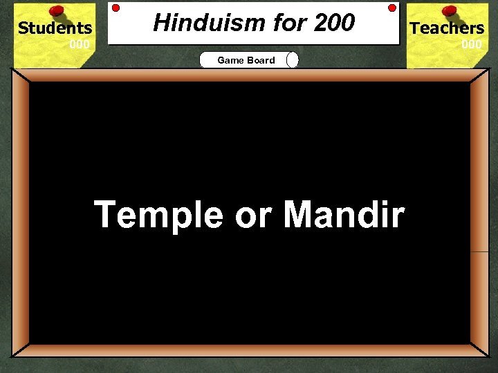 Students Hinduism for 200 Teachers Game Board 200 The Hindu place of worship is