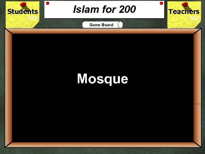 Students Islam for 200 Teachers Game Board 200 Mosque What is the Islam place