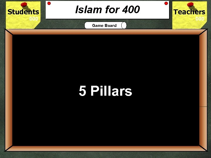 Students Islam for 400 Teachers Game Board 400 Islam practice requires its believers 5