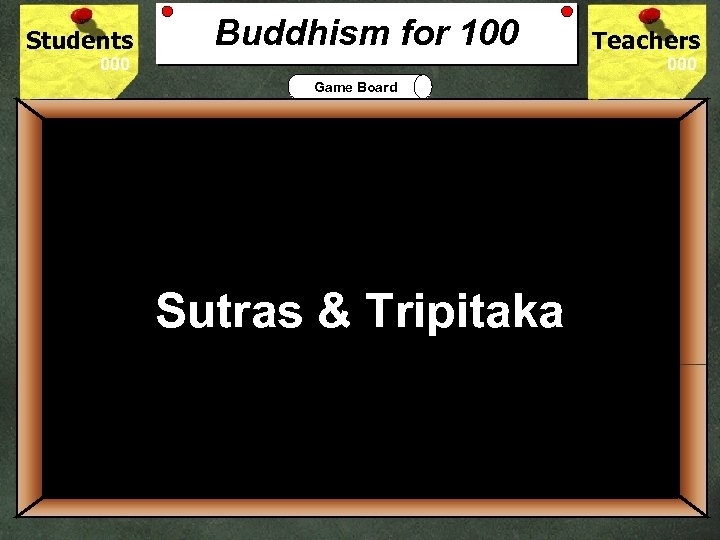 Students Buddhism for 100 Teachers Game Board 100 The Holy Book for Buddhism is