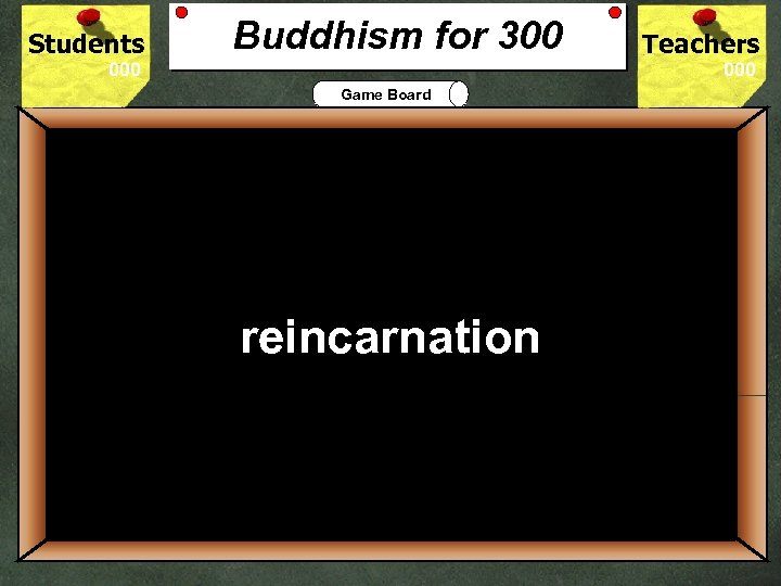 Students Buddhism for 300 Teachers Game Board 300 Buddhists believe that existence is a