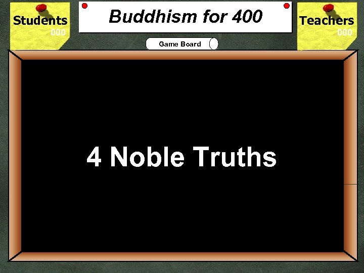 Students Buddhism for 400 Teachers Game Board 400 Buddhist practice requires its believers to