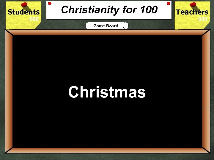 Students Christianity for 100 Teachers Game Board 100 Christians celebrate the birth of Jesus