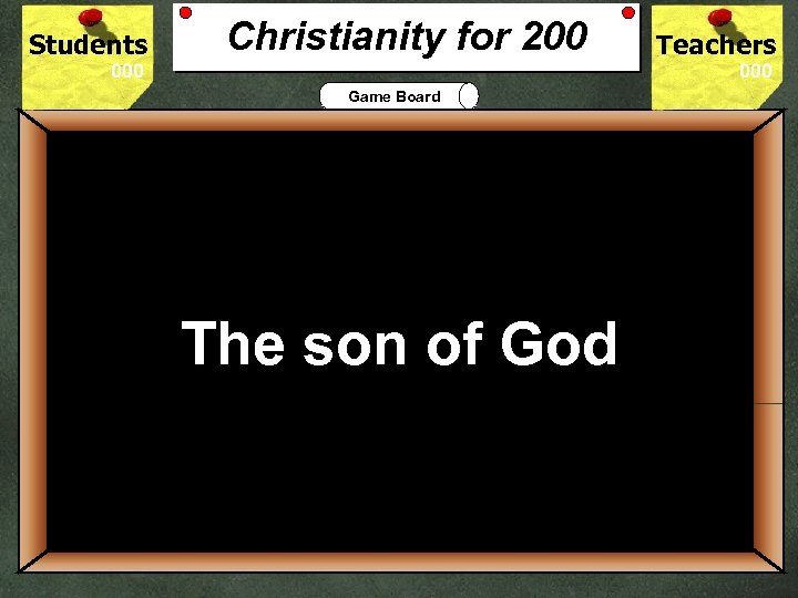 Students Christianity for 200 Teachers Game Board 200 The son of God Who do