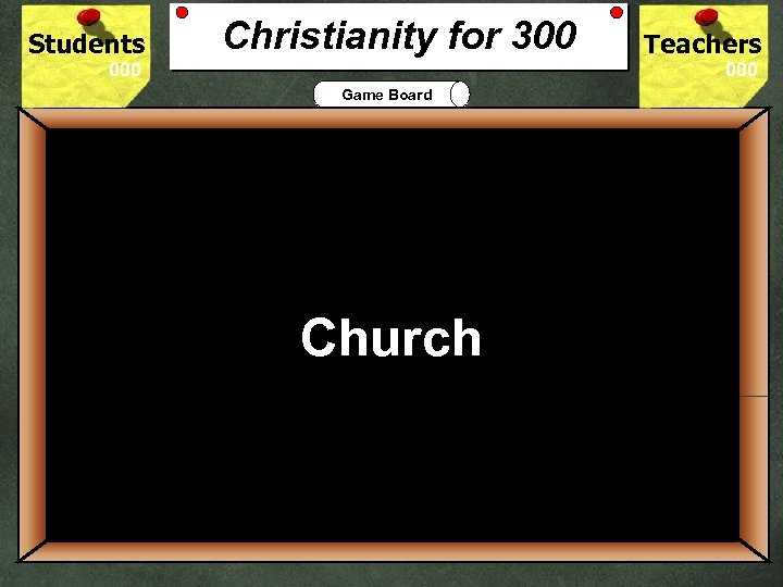 Students Christianity for 300 Teachers Game Board 300 What is the Christian place of