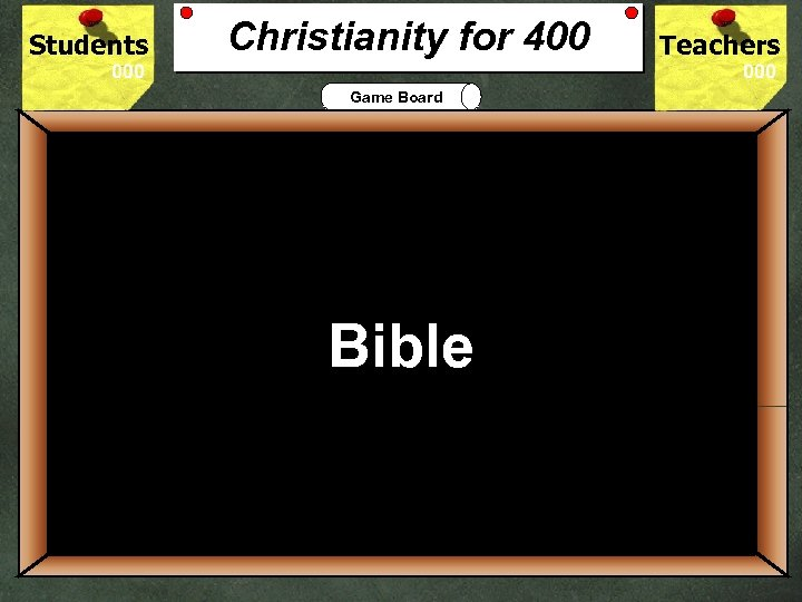 Students Christianity for 400 Teachers Game Board 400 The Holy Book that records God's