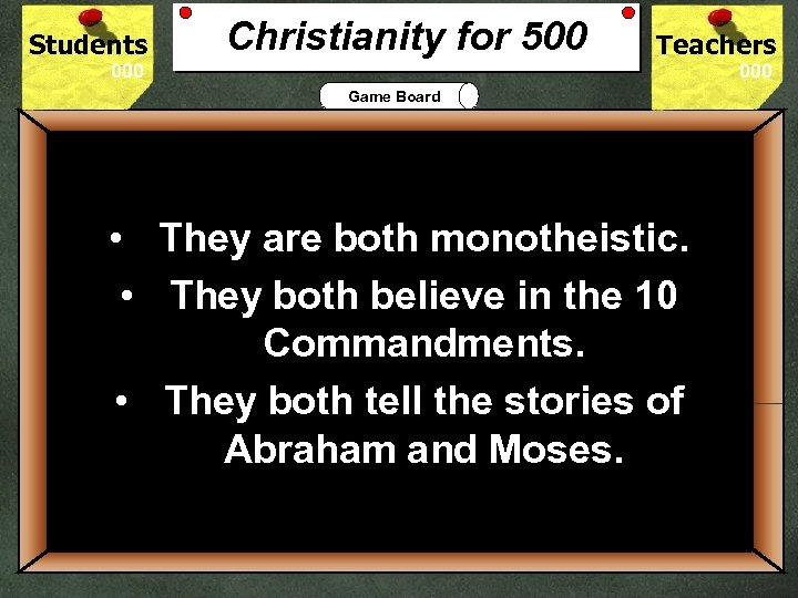 Students Christianity for 500 Teachers Game Board • They are both monotheistic. • They