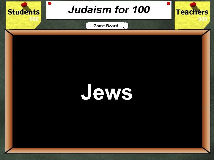 Students Judaism for 100 Teachers Game Board 100 JUDAISM is a religion of just