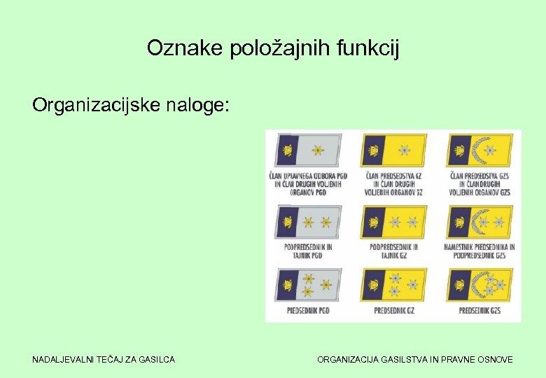 Oznake položajnih funkcij Organizacijske naloge: NADALJEVALNI TEČAJ ZA GASILCA ORGANIZACIJA GASILSTVA IN PRAVNE OSNOVE