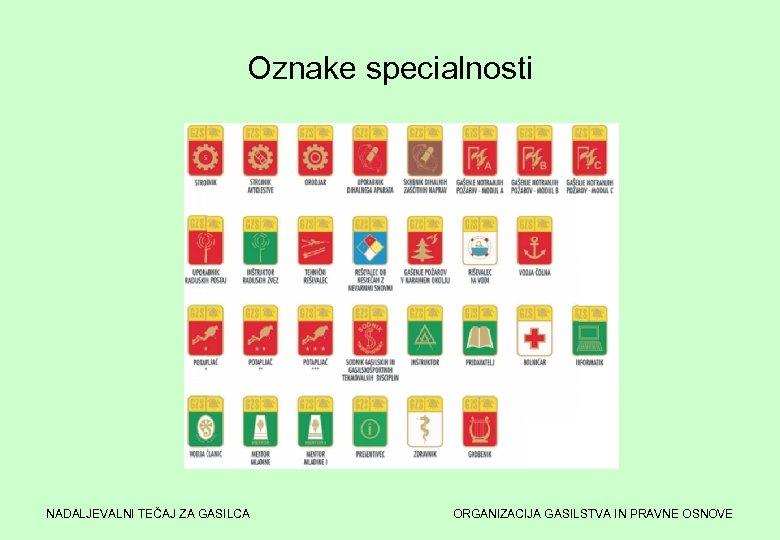 Oznake specialnosti NADALJEVALNI TEČAJ ZA GASILCA ORGANIZACIJA GASILSTVA IN PRAVNE OSNOVE