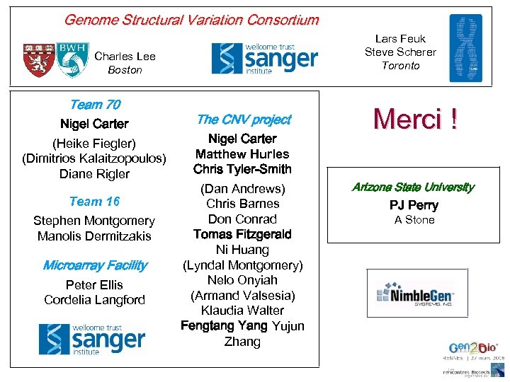 Genome Structural Variation Consortium Lars Feuk Steve Scherer Toronto Charles Lee Boston Team 70