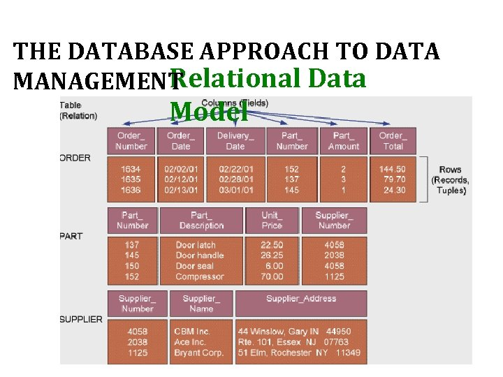 THE DATABASE APPROACH TO DATA Relational Data MANAGEMENT Model