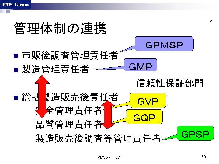 ○ 管理体制の連携 GPMSP 市販後調査管理責任者 GMP n 製造管理責任者      信頼性保証部門 n 総括製造販売後責任者 GVP 安全管理責任者 GQP 品質管理責任者