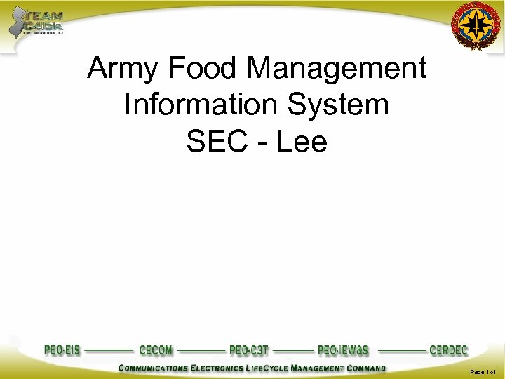 Army Food Management Information System SEC - Lee Page 1 of