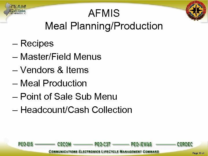 AFMIS Meal Planning/Production – Recipes – Master/Field Menus – Vendors & Items – Meal