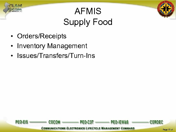 AFMIS Supply Food • Orders/Receipts • Inventory Management • Issues/Transfers/Turn-Ins Page 17 of