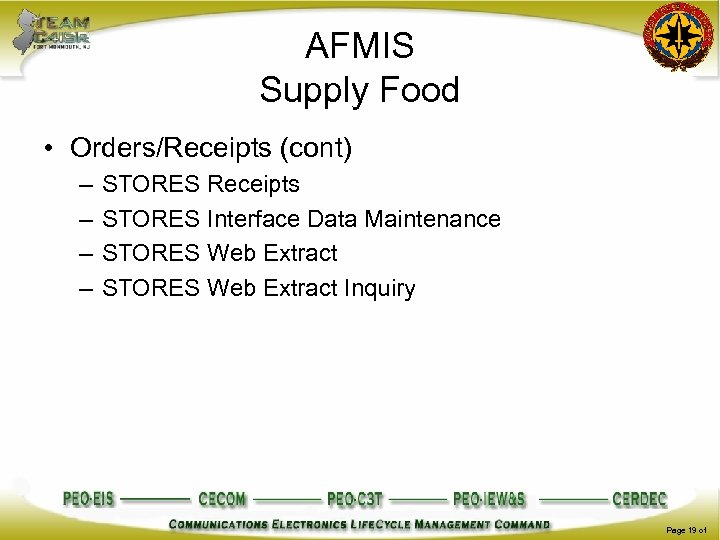 AFMIS Supply Food • Orders/Receipts (cont) – – STORES Receipts STORES Interface Data Maintenance