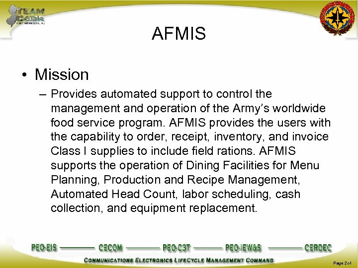 AFMIS • Mission – Provides automated support to control the management and operation of