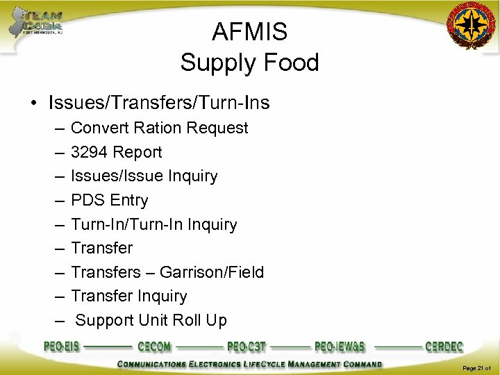 AFMIS Supply Food • Issues/Transfers/Turn-Ins – – – – – Convert Ration Request 3294