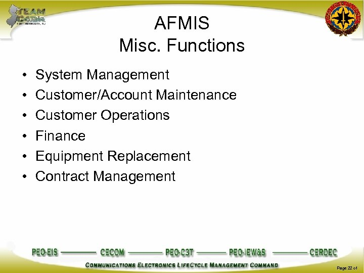 AFMIS Misc. Functions • • • System Management Customer/Account Maintenance Customer Operations Finance Equipment