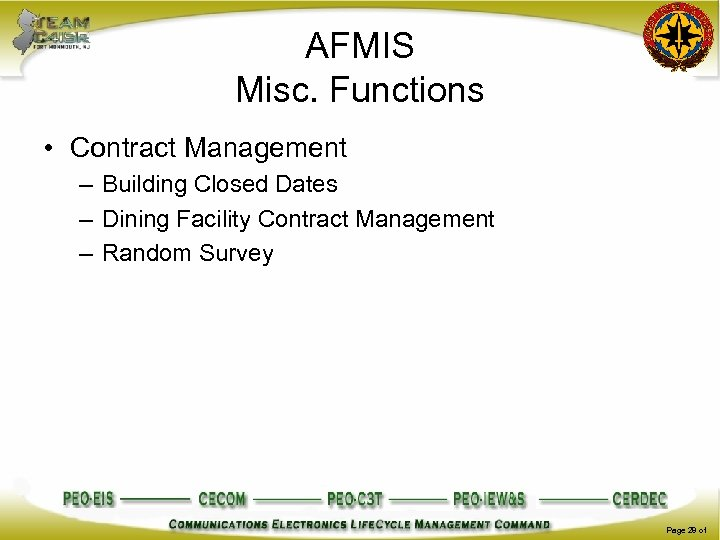 AFMIS Misc. Functions • Contract Management – Building Closed Dates – Dining Facility Contract