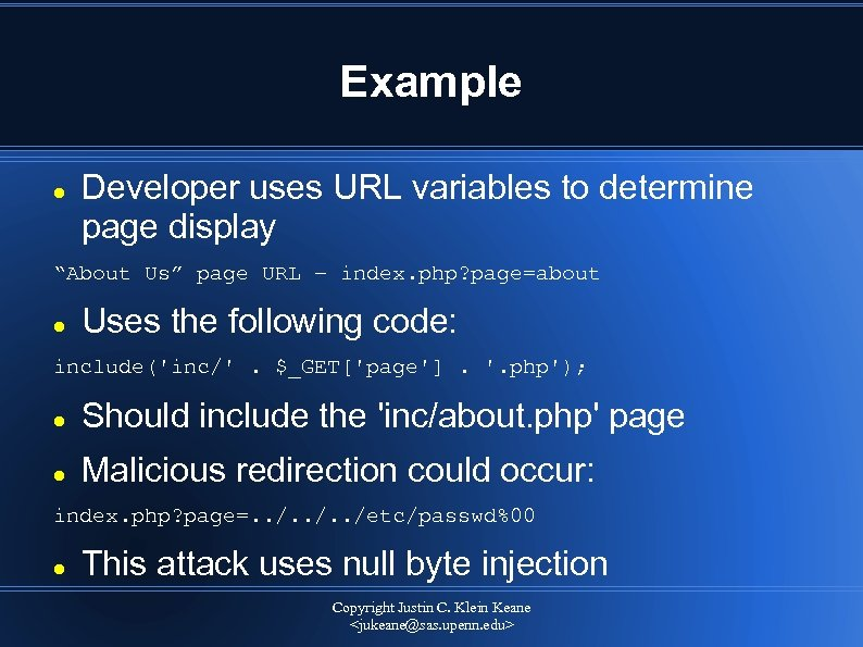 """Example Developer uses URL variables to determine page display """"About Us"""" page URL –"""