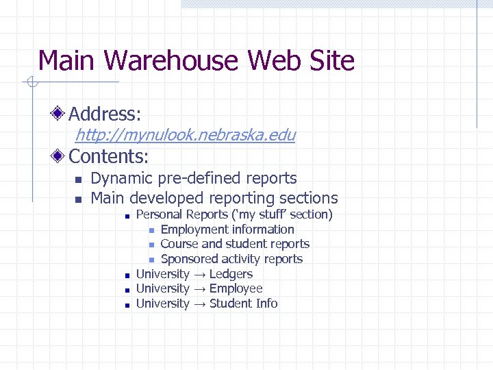 Main Warehouse Web Site Address: http: //mynulook. nebraska. edu Contents: n n Dynamic pre-defined