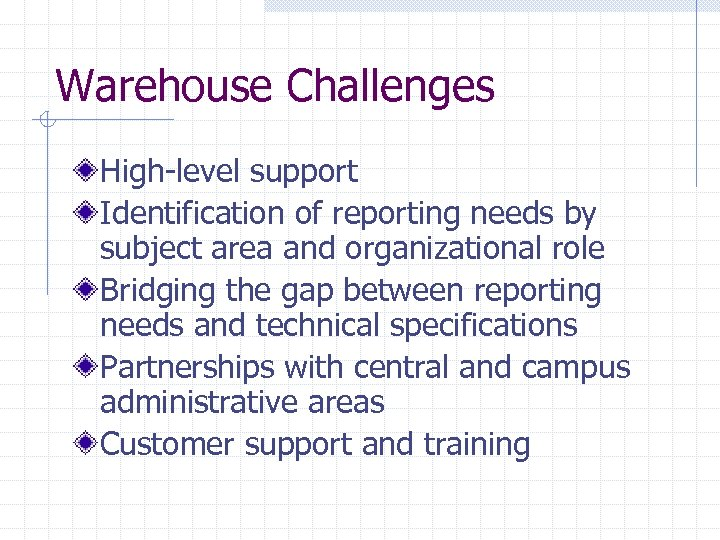 Warehouse Challenges High-level support Identification of reporting needs by subject area and organizational role