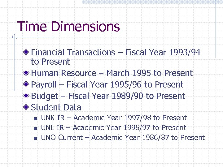 Time Dimensions Financial Transactions – Fiscal Year 1993/94 to Present Human Resource – March