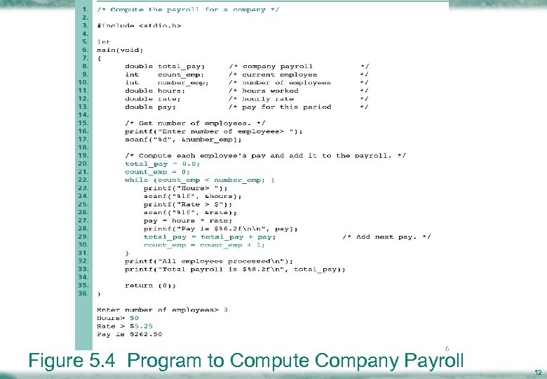 Figure 5. 4 Program to Compute Company Payroll 12