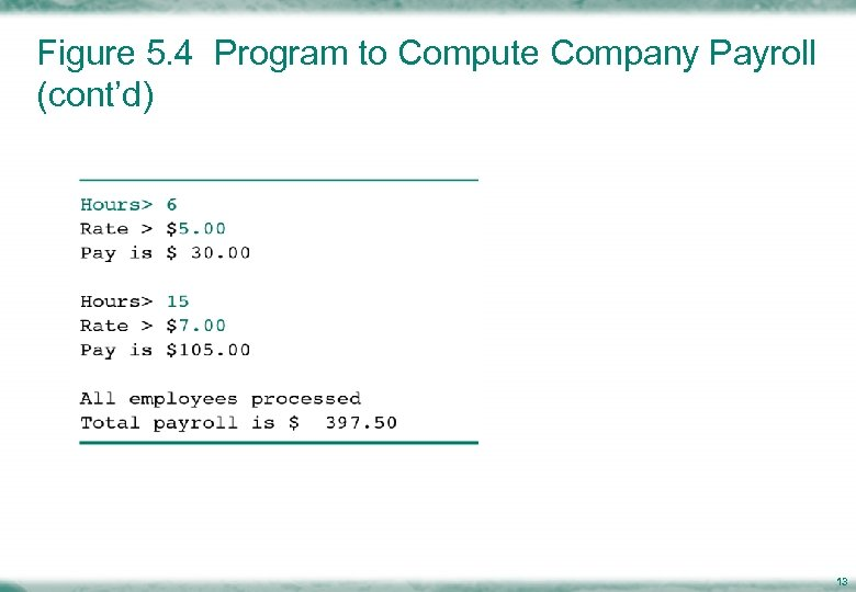 Figure 5. 4 Program to Compute Company Payroll (cont'd) 13