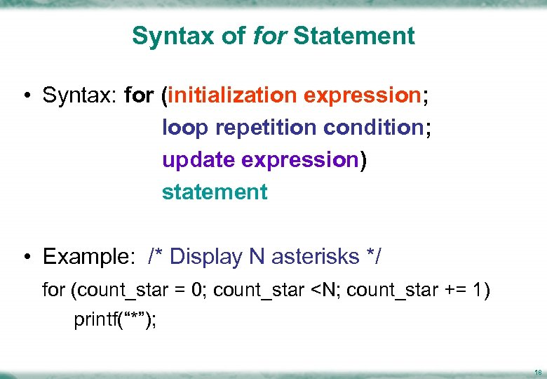 Syntax of for Statement • Syntax: for (initialization expression; loop repetition condition; update expression)