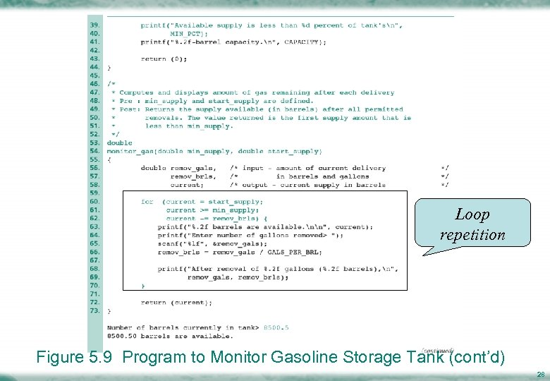 Loop repetition Figure 5. 9 Program to Monitor Gasoline Storage Tank (cont'd) 28