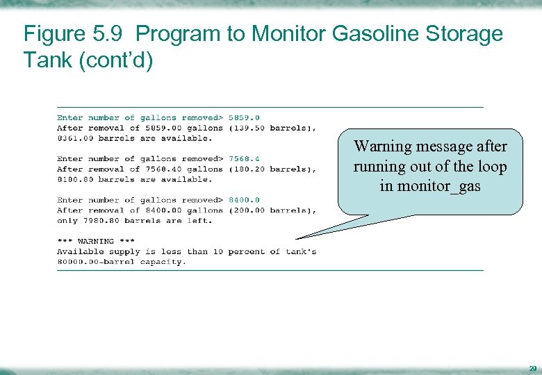 Figure 5. 9 Program to Monitor Gasoline Storage Tank (cont'd) Warning message after running