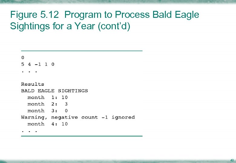 Figure 5. 12 Program to Process Bald Eagle Sightings for a Year (cont'd) 42