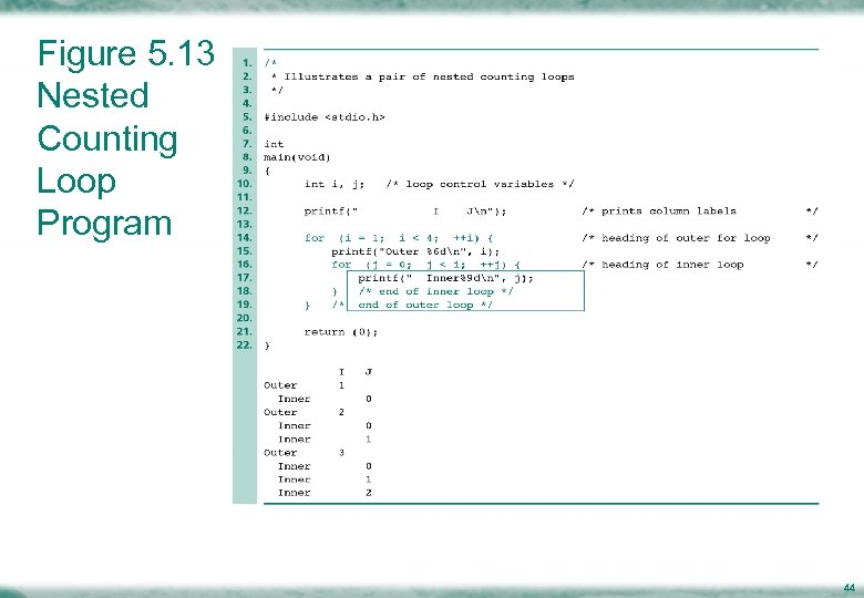 Figure 5. 13 Nested Counting Loop Program 44