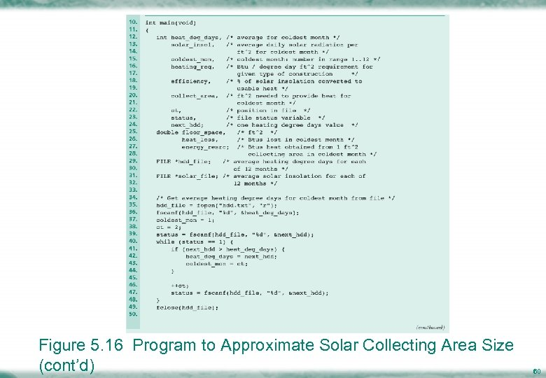 Figure 5. 16 Program to Approximate Solar Collecting Area Size (cont'd) 60